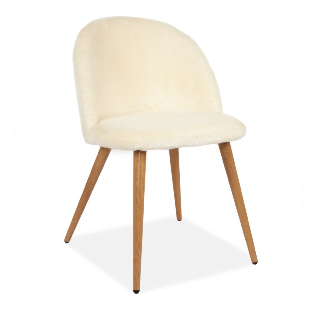 x2Rosemary Fluffy Tub Accent Chair With Beech Legs